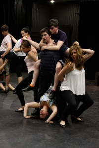 Students rehearse for the main stage production of Berlin to Broadway